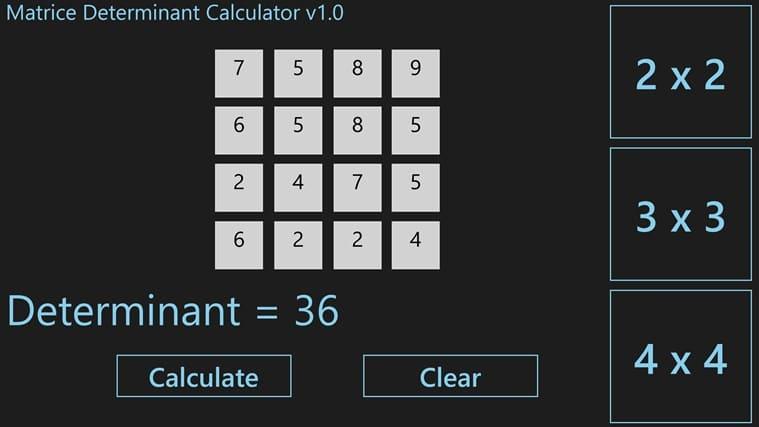 Determinant calculator